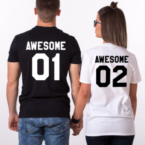 Awesome 01 Awesome 02, Matching Couples Shirts
