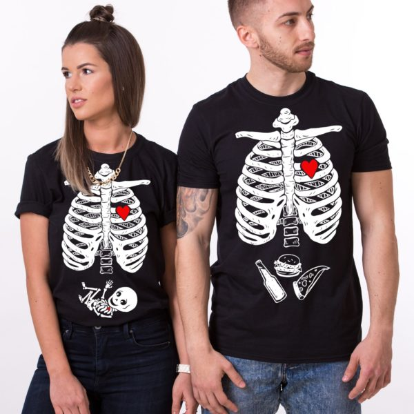 Maternity, Skelleton Shirt, Couple Shirts, Black