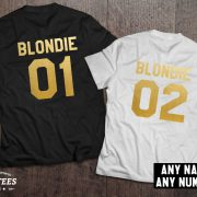 Blondie 01 Blondie 02, Blondie shirts, Bff shirts, Set of two matching shirts for best friends, UNISEX 3