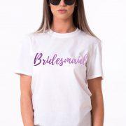 Bridesmaid Shirt, White/Purple