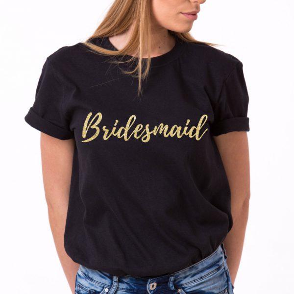 Bridesmaid Shirt, Black/Gold