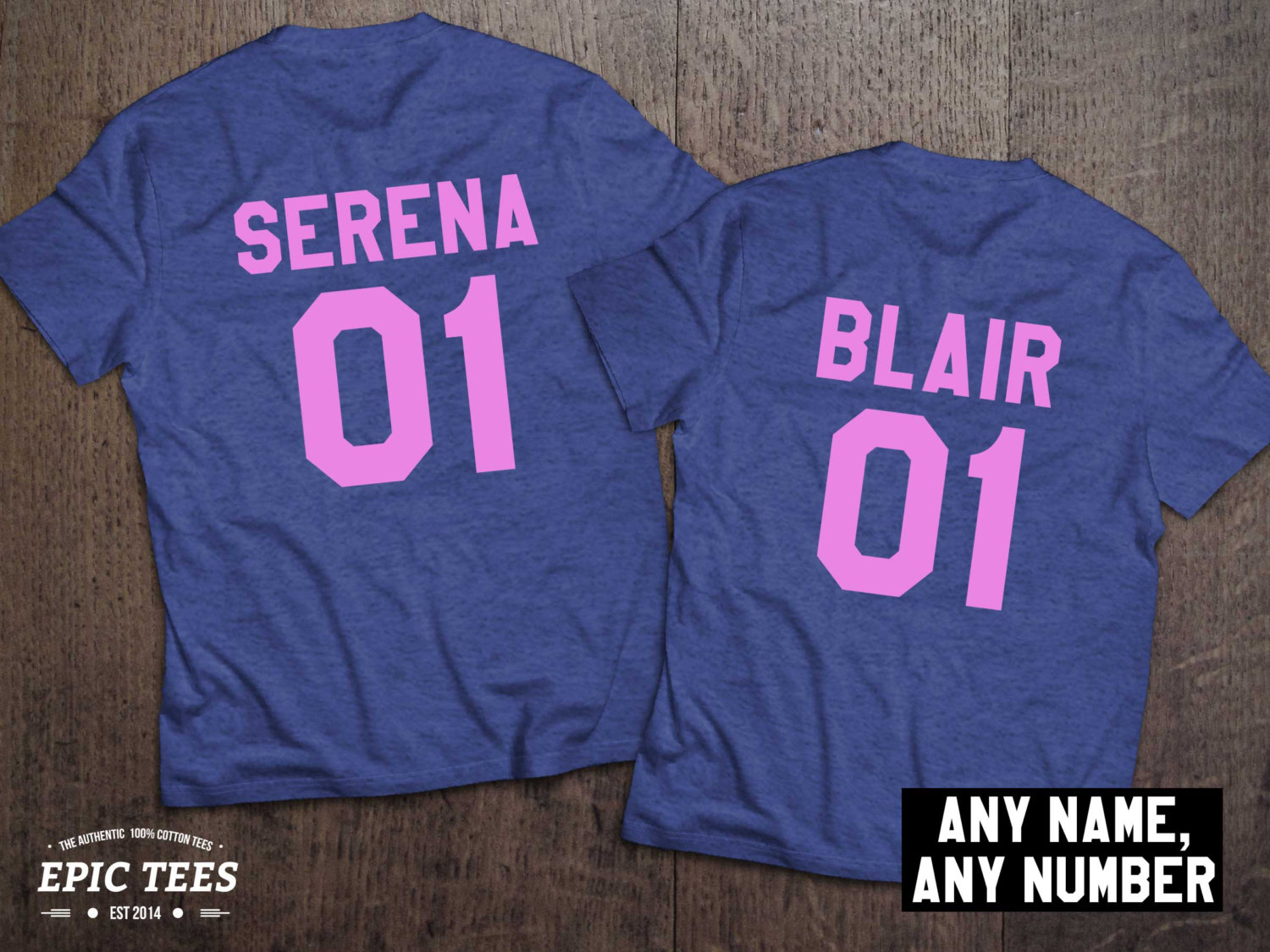 Serena Blair t-shirts, Bff shirts, Set of two matching shirts for best friend, UNISEX