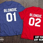 Blondie 01 Blondie 02, Blondie shirts, Bff shirts, Set of two matching shirts for best friends, UNISEX 5