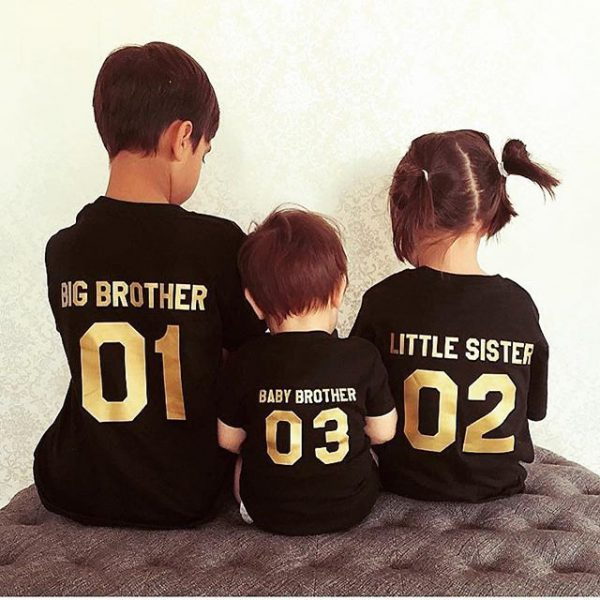 Big brother, Little Sister, Baby Brother, Black/Gold