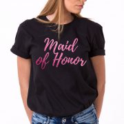 Maid of Honor Shirt, Black/Pink Glitter