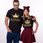 King Queen with big crowns, Matching King Queen Couples Shirts Shirts