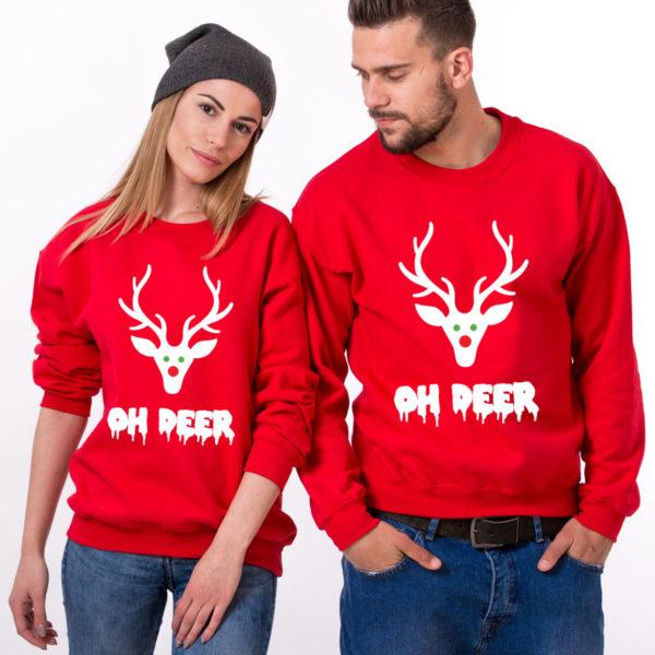 Oh deer, Oh deer Christmas sweatshirt, Oh deer sweatshirt, Matching couple Christmas sweatshirts, Christmas sweatshirt,  UNISEX 1
