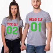 Head Elf Vice Elf matching shirts, matching couples Christmas shirts, matching couples Christmas outfits, 100% cotton Tee, UNISEX 2
