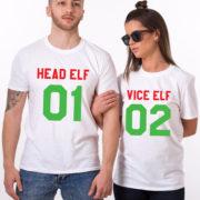Head Elf Vice Elf matching shirts, matching couples Christmas shirts, matching couples Christmas outfits, 100% cotton Tee, UNISEX 5