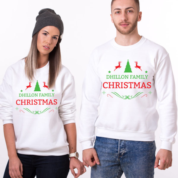 Custom name Christmas family sweatshirt, Ugly Christmas sweater, Family matching sweaters, UNISEX 1