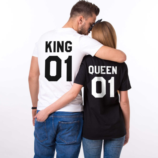King and Queen shirts, King 01, Queen 01 Couples T-shirt Set, King Queen shirts, 100% cotton Tee, UNISEX 1