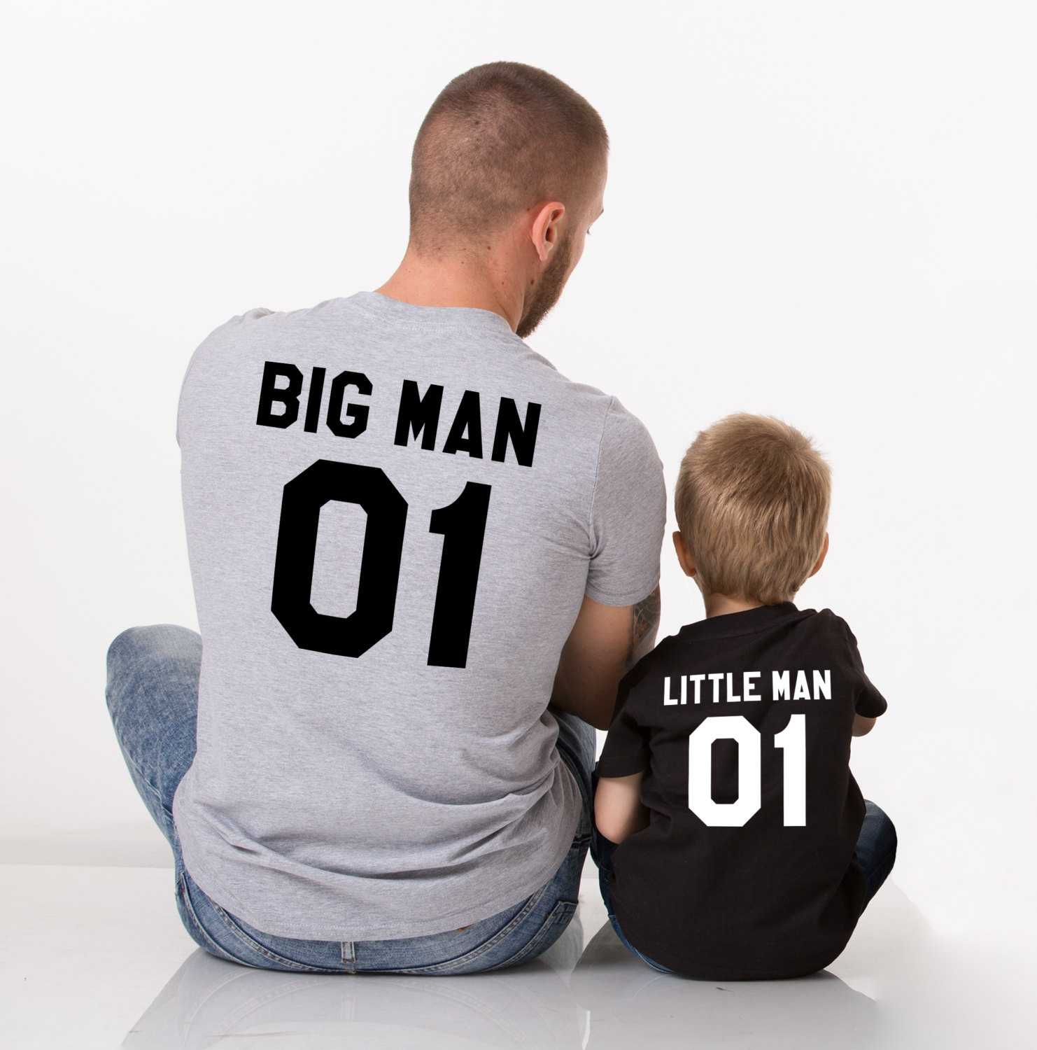 Father son matching shirts, Father and son shirts, Big man lil man father son matching T-shirts, Print is on the back, Big man Lil man 01