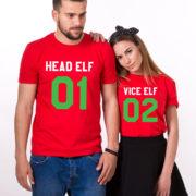 Head Elf Vice Elf matching shirts, matching couples Christmas shirts, matching couples Christmas outfits, 100% cotton Tee, UNISEX 4