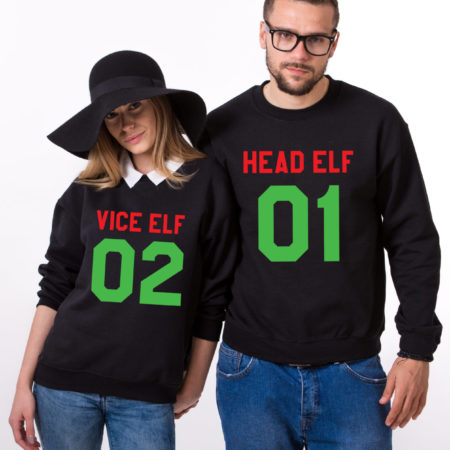 Head Elf Vice Elf sweatshirts, Matching couple Christmas sweatshirts, Christmas sweatshirt,  UNISEX
