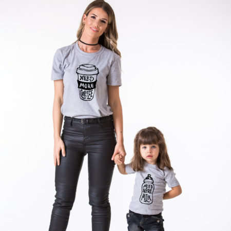 Need More Milk, Need More Coffee, Matching Mommy and Me Shirts, Mother Baby Shirts