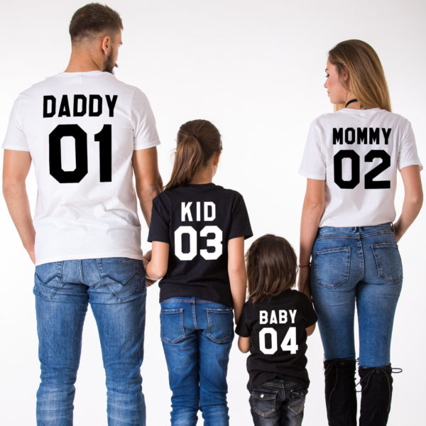 Mommy Daddy Kid Baby, Black/White, White/Black