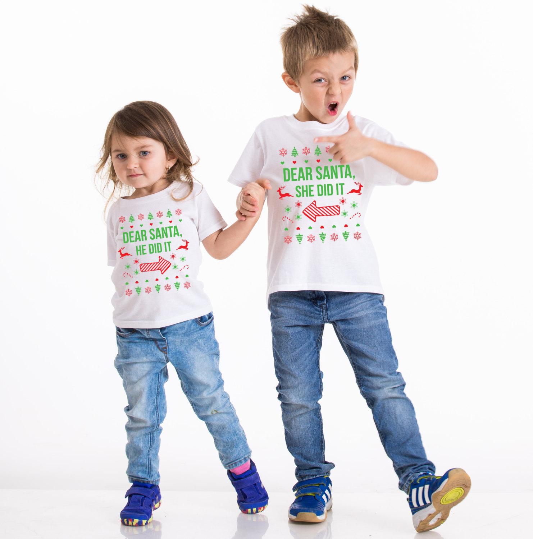 kids christmas shirt kids christmas outfit sibling shirts dear santa she did it - Kids Santa