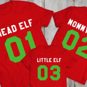 Head Elf Mommy Elf Little Elf family shirts, matching family Christmas shirts, matching Christmas outfits, 100% cotton Tee, UNISEX 5