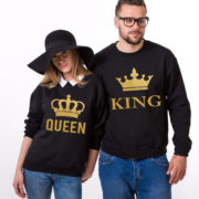 King Queen Sweatshirts, Black/Gold