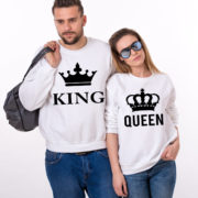 King Queen Sweatshirts, White/Black