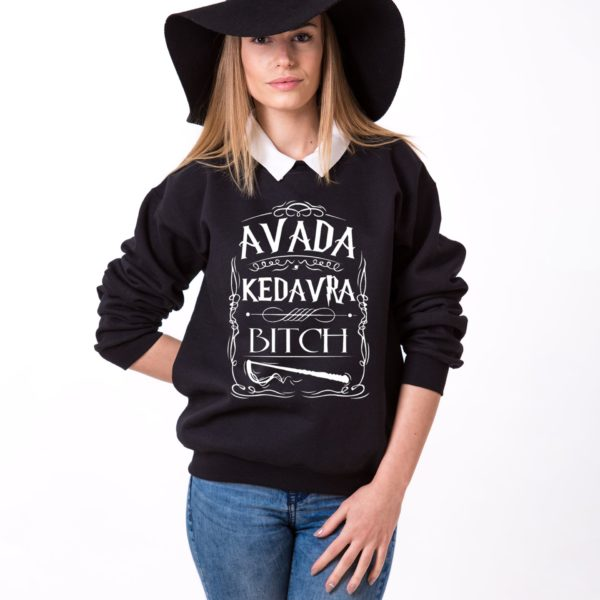 Avada Kedavra Bitch Sweatshirt, Black/White