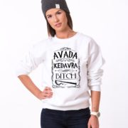 Avada Kedavra Bitch Sweatshirt, White/Black