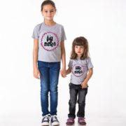 Big Sister Little Sister, Grey/Black, Pink Glitter