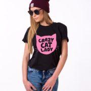 Crazy Cat Lady Shirt, Black/Pink