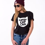 Crazy Cat Lady Shirt, Black/White