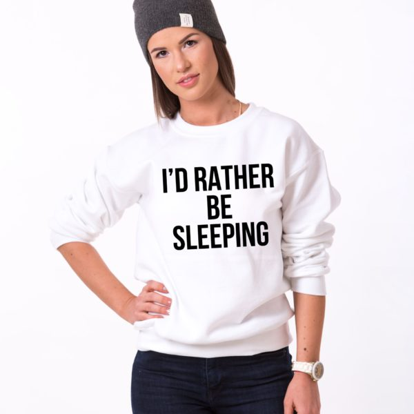 I'd Rather Be Sleeping Sweatshirt, White/Black