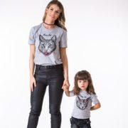 Mama Cat, Baby Cat, Gray/Black