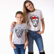 Mama Lion, Little lion, White/Black, Gray/Black