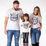Papa Cat, Mama Cat, Baby Cat, White/Black