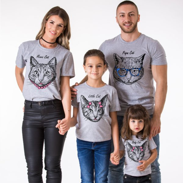 Papa Cat, Mama Cat, Little Cat, Baby Cat, Gray/Black