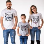 Papa Cat, Mama Cat, Little Cat, White/Black, Gray/Black