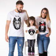 Papa Dog, Mama Dog, Baby Dog, White/Black