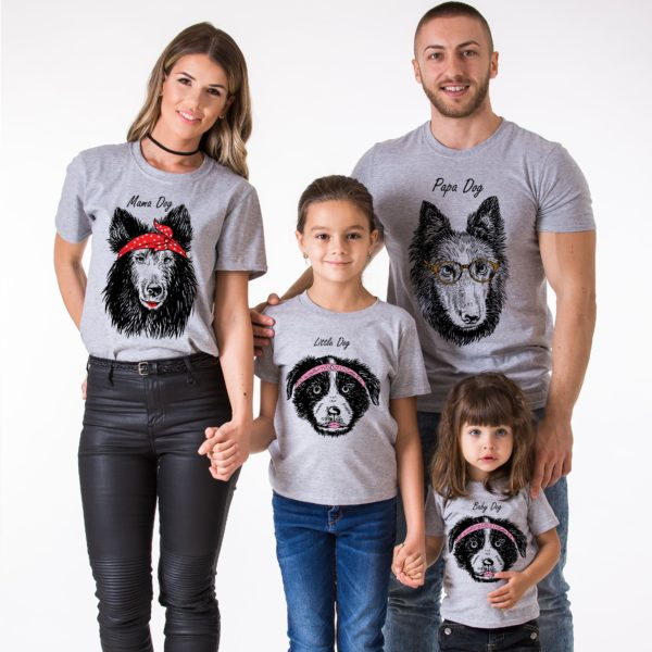 Papa Dog, Mama Dog, Little Dog, Baby Dog, Gray/Black