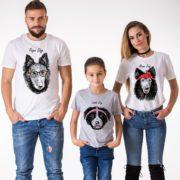 Papa Dog, Mama Dog, Little Dog, White/Black, Gray/Black
