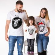 Papa Lion, Mama Lion, Baby lion, White/Black
