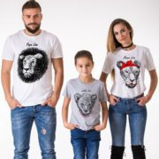 Papa Lion, Mama Lion, Little lion, White/Black, Gray/Black