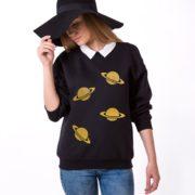 Planets Sweatshirt, Black/Gold