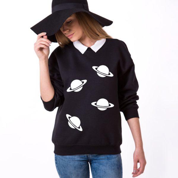 Planets Sweatshirt, Black/White