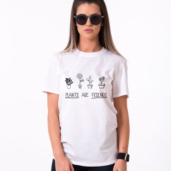 Plants are Friends Shirt, White/Black