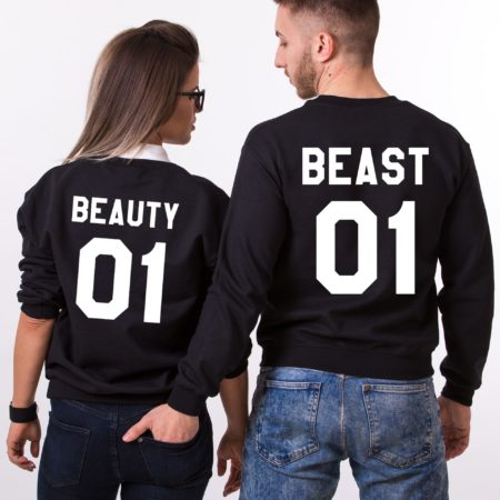 Beauty 01, Beast 01, Matching Couples Beauty Beast Sweatshirts