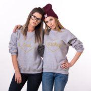 Best Bitches Sweatshirt, Gray/Gold