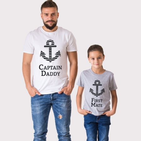 Captain Daddy Shirt, First Mate Shirt, Matching Daddy and Me Shirts