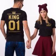 King Queen 01 Crowns, Double Sided, Black/Gold
