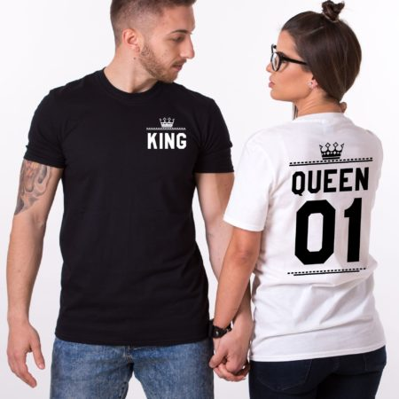 King Queen 01 Crowns, Double Sided, Matching Couples Shirts