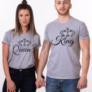 King, Queen, with big crowns, Grey/Black