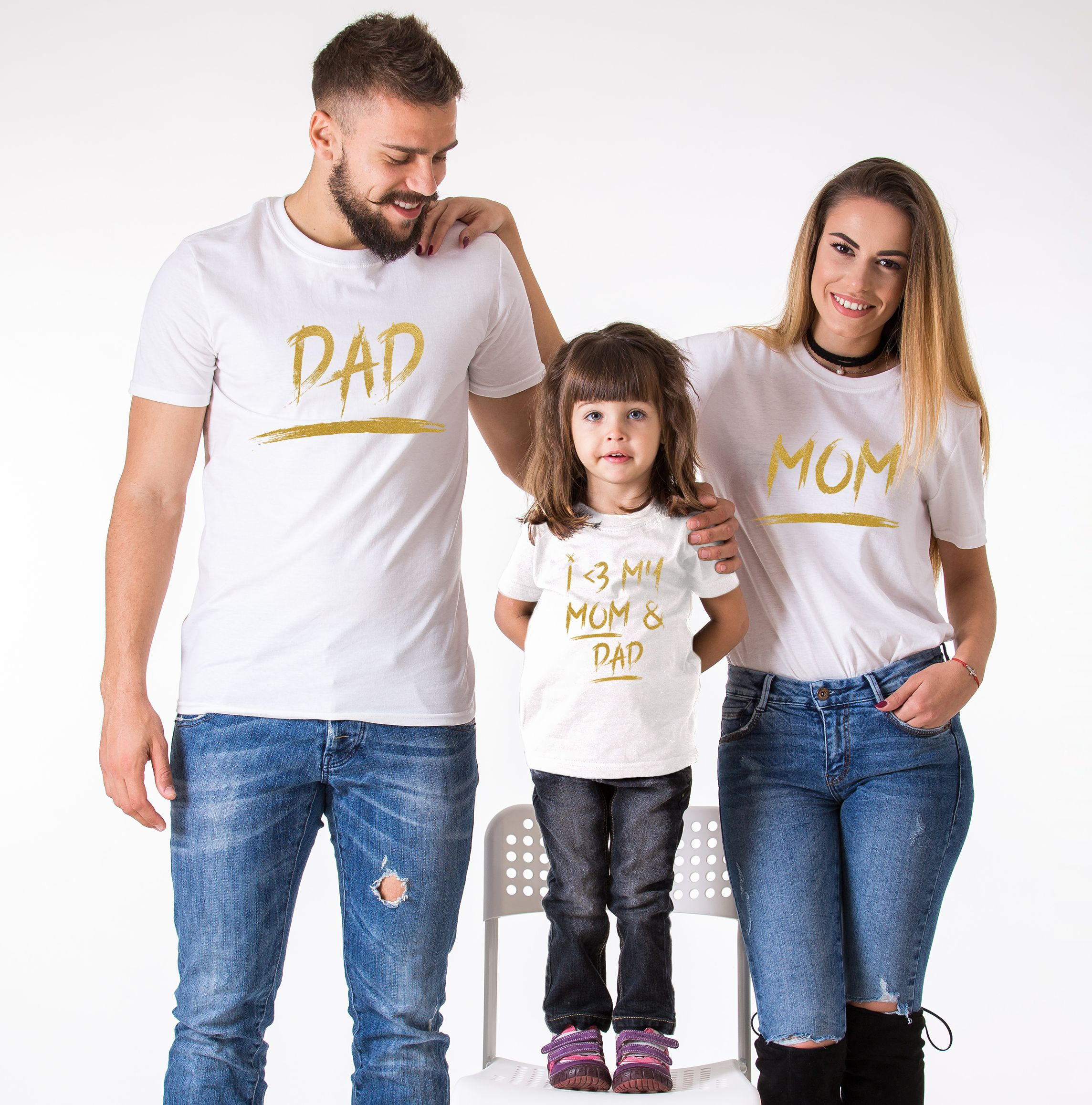 Matching Mom Dad Kid Shirts, Mom, Dad, I